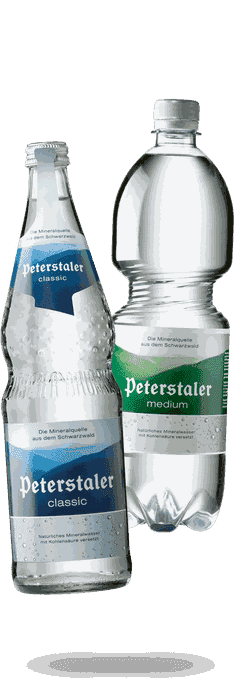 Peterstaler Mineralwasser classic und medium